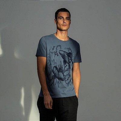 Camiseta masculina estampa do signo de Peixes - Azul