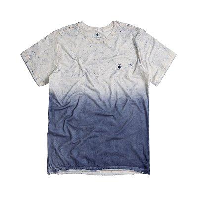 Camiseta masculina marmorizada degradê modelagem padrão - Azul