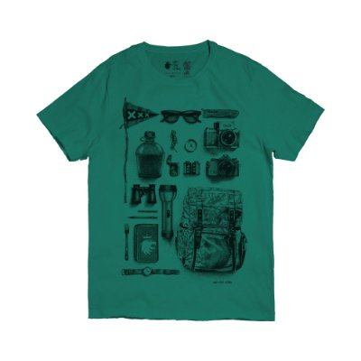 Camiseta masculina estampa do fotógrafo aventureiro - Verde