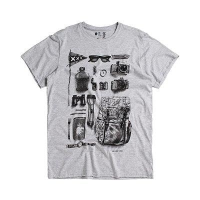 Camiseta masculina estampa do fotógrafo aventureiro - Mescla