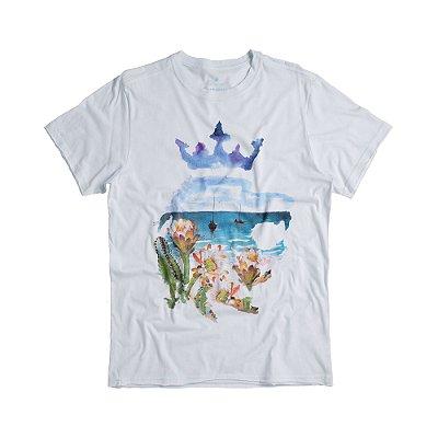 Camiseta masculina estampa leão e paisagem de praia - Branco