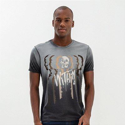Camiseta masculina dupla face estampa de caveira - Preto