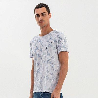 Camiseta masculina estampa características holandesas - Branco