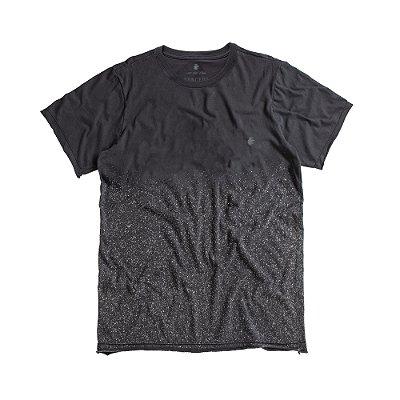 Camiseta masculina de manga curta com respingos - Preto