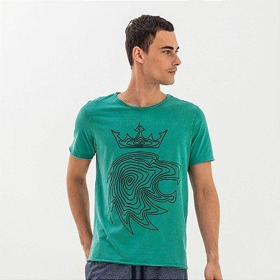 Camiseta masculina manga curta estampa leão da Vøn der Völke - Verde
