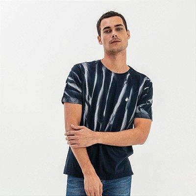 Camiseta masculina manga curta efeito pincelado - Azul