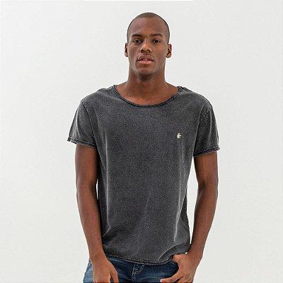Camiseta masculina manga curta efeito de lavanderia marmorizado - Preto