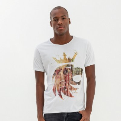 Camiseta masculina estampa leão da Vøn der Völke com pintura - Branco