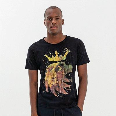Camiseta masculina estampa leão da Vøn der Völke com pintura - Preto