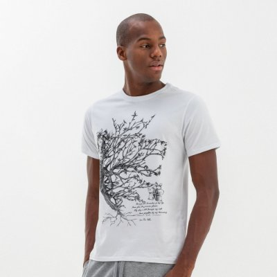 Camiseta masculina estampa Mr. Völke leão floral - Branco