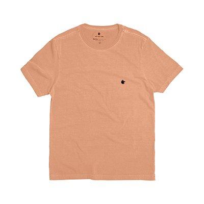Camiseta básica masculina estonada gola redonda e manda curta - Salmão
