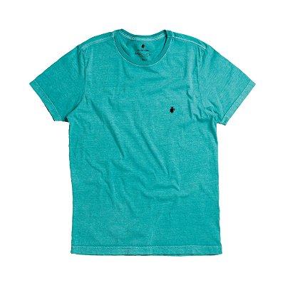 Camiseta básica masculina estonada gola redonda e manda curta - Turquesa