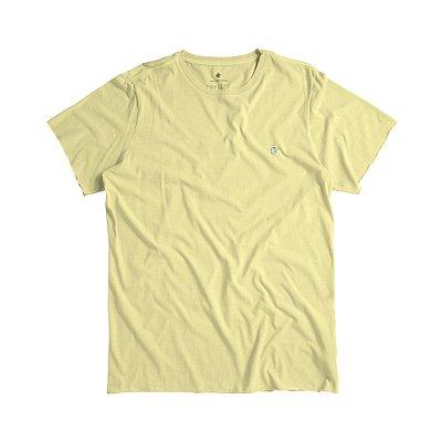 Camiseta básica masculina estonada acabamento diferenciado - Amarelo