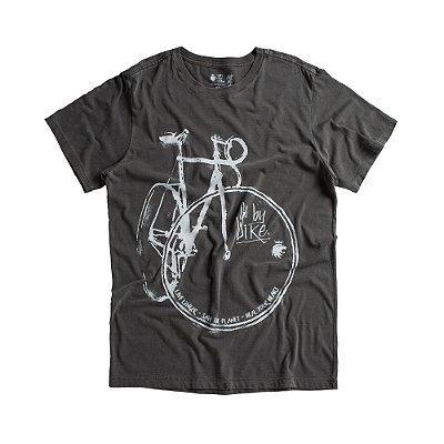 Camiseta masculina manga curta estampa manual de bicicleta - Preto
