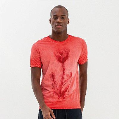 Camiseta masculina dupla face manga curta estampa floral tulipa - Vermelho