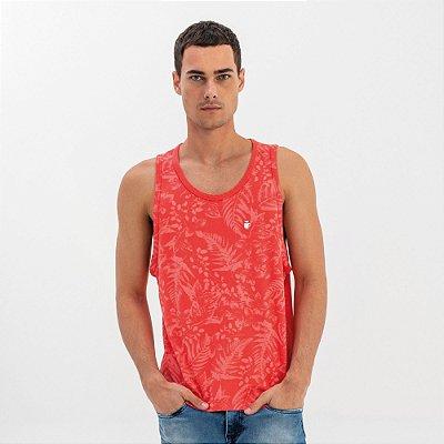 Regata masculina concept estampa de folhagens - Vermelho