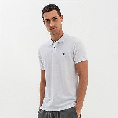Camisa polo masculina básica em piquet - Branco
