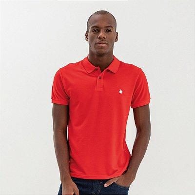Camisa polo masculina básica em piquet - Vermelho