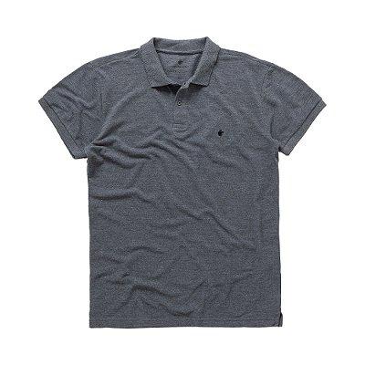 Camisa polo masculina básica em piquet - Preto Mescla