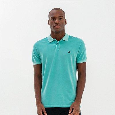 Camisa polo masculina básica estonada em piquet - Turquesa