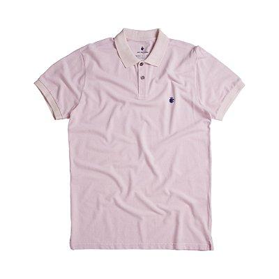 Camisa polo masculina básica estonada em piquet - Rosa