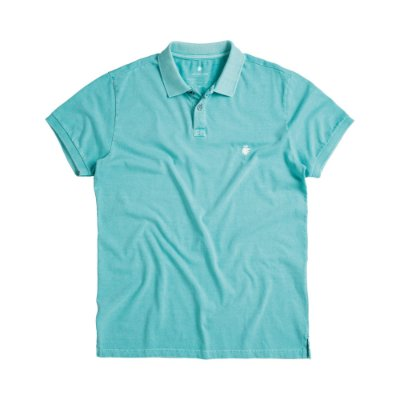 Camisa polo masculina básica estonada confeccionada em malha - Turquesa