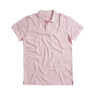 Camisa polo masculina básica estonada confeccionada em malha - Rosa