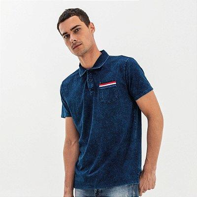 Camisa polo masculina marmorizada bolso com cores da Holanda - Denim