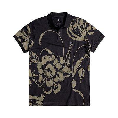 Camisa polo masculina estampa floral abstrata - Preto