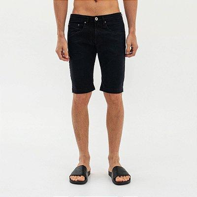 Bermuda masculina de sarja modelagem slim - Preto