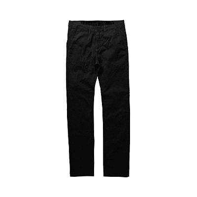 Calça chino ajustada masculina de sarja - Preto