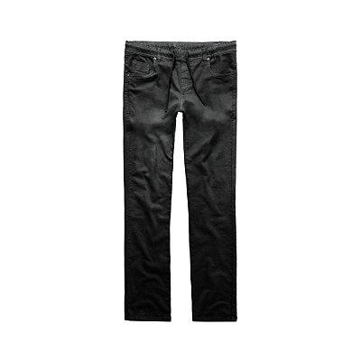 Calça slim masculina de sarja com elástico - Preto