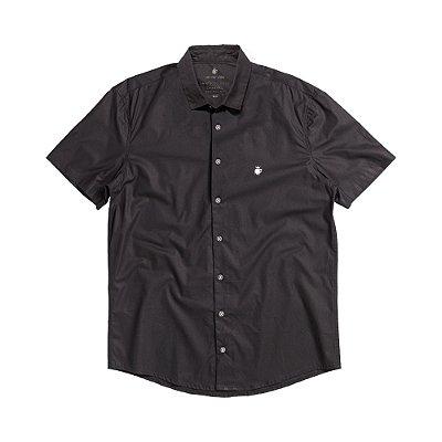 Camisa social manga curta básica masculina de tricoline  - Preto