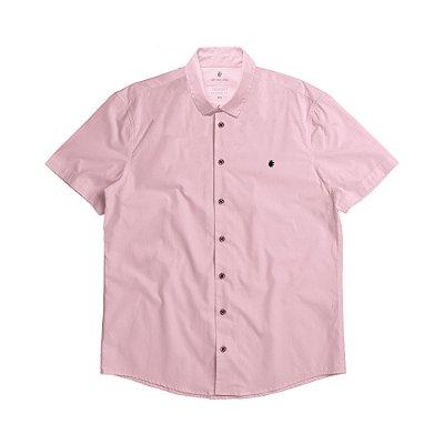 Camisa social manga curta básica masculina de tricoline  - Rosa
