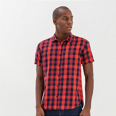 Camisa masculina de flanela xadrez e manga curta - Vermelho
