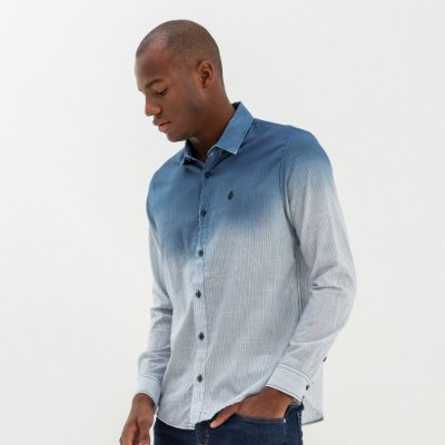 Camisa masculina listrada de manga longa e efeito degradê - Azul