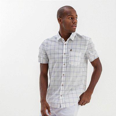 Camisa masculina xadrez de manga curta com bolso - Branco