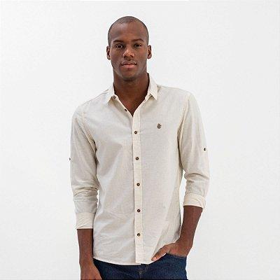 Camisa unissex de linho manga longa modelagem diferenciada - Bege