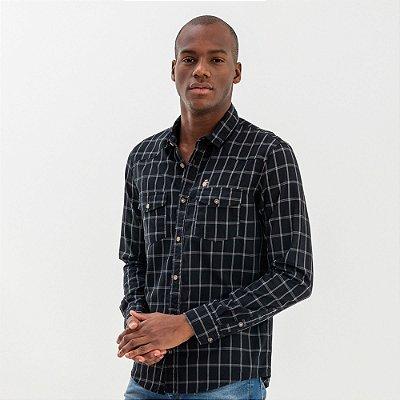 Camisa masculina xadrez manga longa com bolsos - Preto