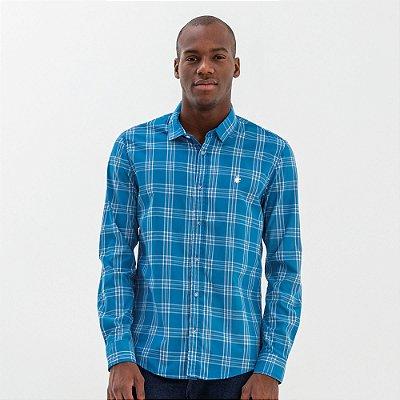 Camisa masculina manga longa com estampa xadrez - Azul