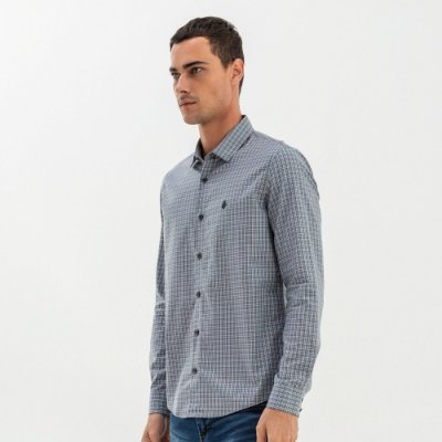 Camisa masculina manga longa com estampa xadrez - Cinza