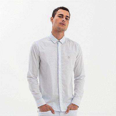 Camisa masculina básica de manga longa - Branco