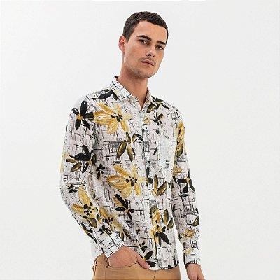 Camisa unissex de manga longa com bolso e estampa maxi floral - Branco