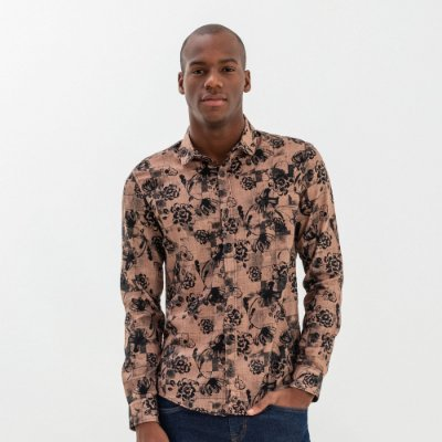 Camisa masculina de manga longa estampa floral - Marrom