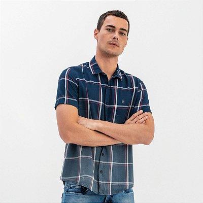 Camisa masculina de flanela xadrez e manga curta - Azul