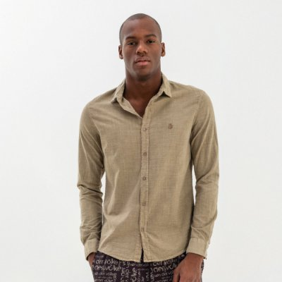 Camisa masculina de tecido leve e manga longa - Marrom