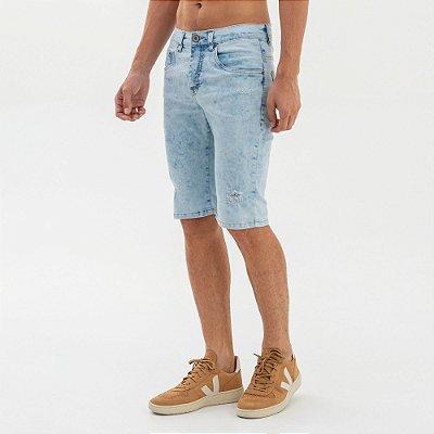 Bermuda jeans masculina slim com puídos - Denim