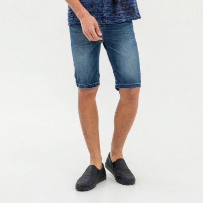 Bermuda jeans masculina efeito desgaste modelagem slim - Denim