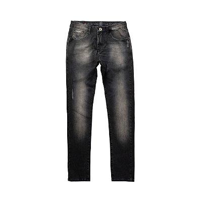 Calça jeans masculina modelagem slim efeito desgaste - Denim