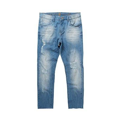 Calça jeans masculina de modelagem slim desgaste com puídos - Denim